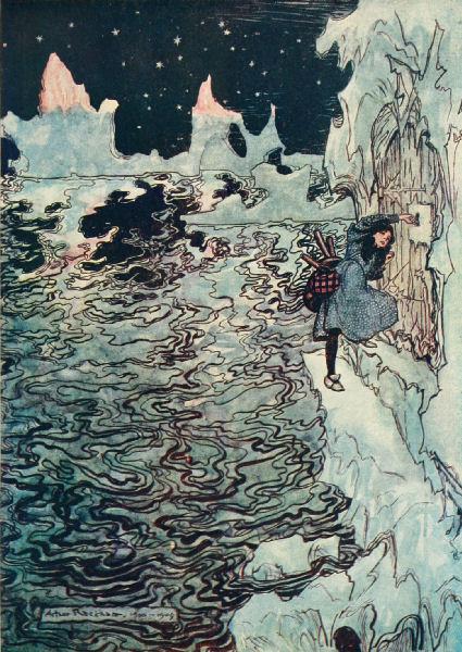 Illustration von Arthur Rackham  zu dem Märchen Die sieben Raben von den Brüdern Grimm