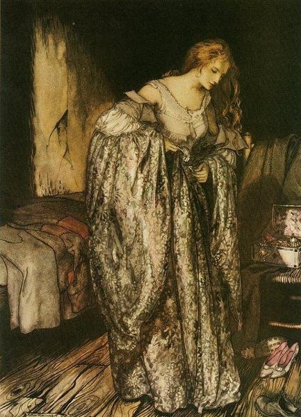Illustration von Arthur Rackham zu dem Märchen Die wahre Braut von den Brüdern Grimm