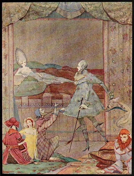 Illustration von Harry Clarke zu dem Märchen Die schlafende Schöne im Wald von Charles Perrault.