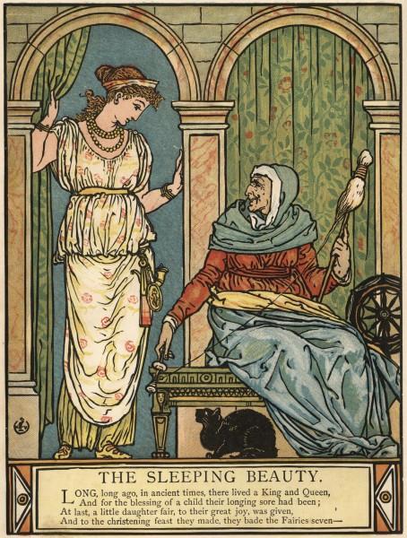 Illustration von Walter Crane zu dem Märchen Die schlafende Schöne im Wald von Charles Perrault. Die Königsttochter trifft die Alte mit der Spindel.