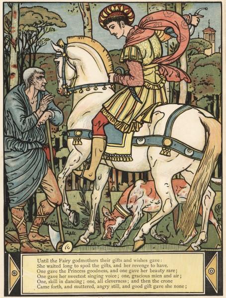 Illustration von Walter Crane zu dem Märchen Die schlafende Schöne im Wald von Charles Perrault. Der Prinz vor dem verwunschenen Schloss