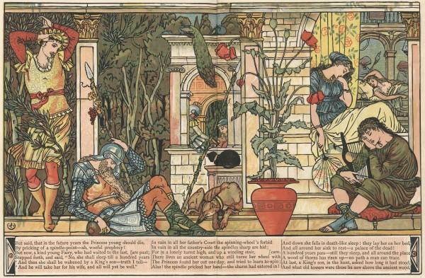 Illustration von Walter Crane zu dem Märchen Die schlafende Schöne im Wald von Charles Perrault. Schlafender Hofstaat