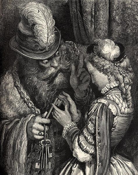 Illustration von Gustave Doré zu Charles Perraults Märchen Ritter Blaubart