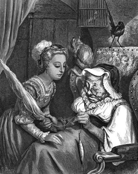 Illustration von Gustave Doré zu dem Märchen Die schlafende Schöne im Wald von Charles Perrault. Die Königstochter trifft die Alte mit der Spindel.