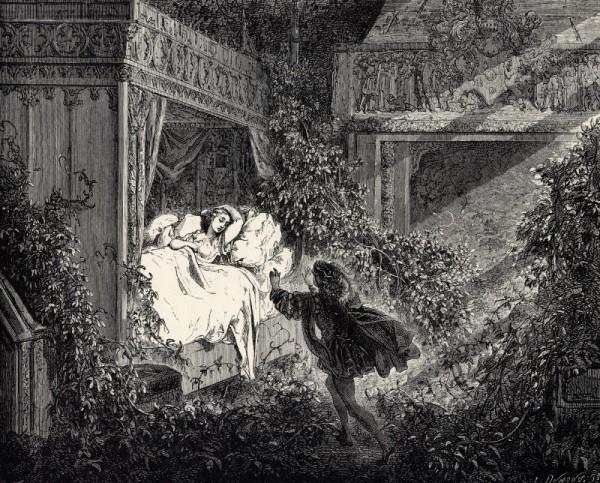 Illustration von Gustave Doré zu dem Märchen Die schlafende Schöne im Wald von Charles Perrault. Der Prinz weckt die Schlafende.