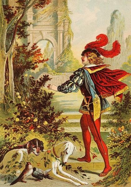Illustration von Carl Offterdinger zu dem Märchen Dornröschen: Der Prinz durchbricht die Dornenhecke