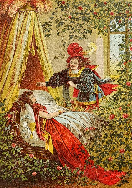 Illustration von Carl Offterdinger zu dem Märchen Dornröschen: Der Prinz findet das schlafende Dornröschen