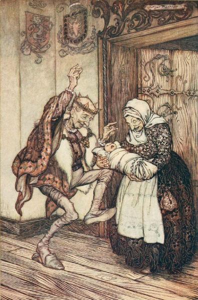 Illustration von Arthur Rackham zu dem Märchen Dornröschen. Der König freut sich über Dornröschens Geburt.
