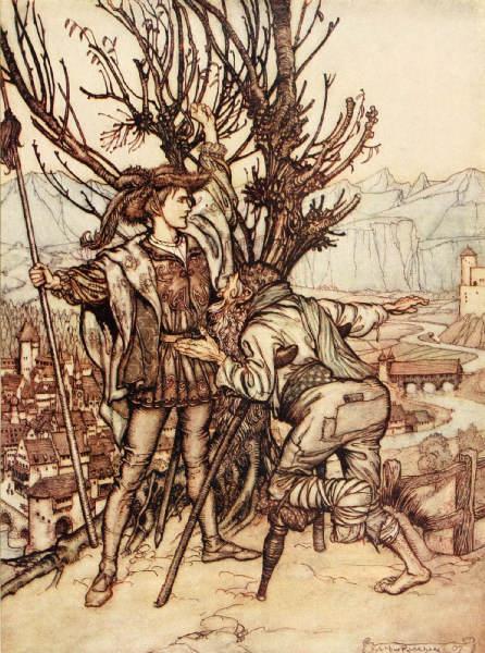 Illustration von Arthur Rackham zu dem Märchen Dornröschen. Der Prinz fragt nach dem verwunschenen Schloss.