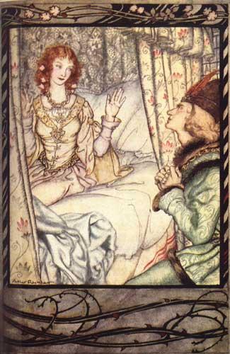 Illustration von Arthur Rackham zu dem Märchen Dornröschen. Der Prinz am Bett von Dornröschen.