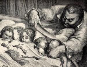 Der kleine Däumling, Märchen von Charles Perrault. Illustration Gustave Doré