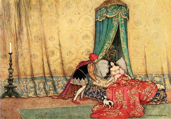 Illustration von Warwick Goble zu dem Märchen Dornröschen