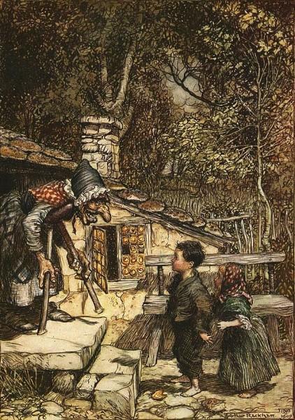 Hänsel und Gretel treffen die Hexe. Illustration von Arthur Rackham