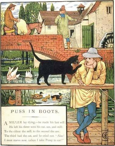 Illustration von Walter Crane zu dem Märchen Der gestiefelte Kater