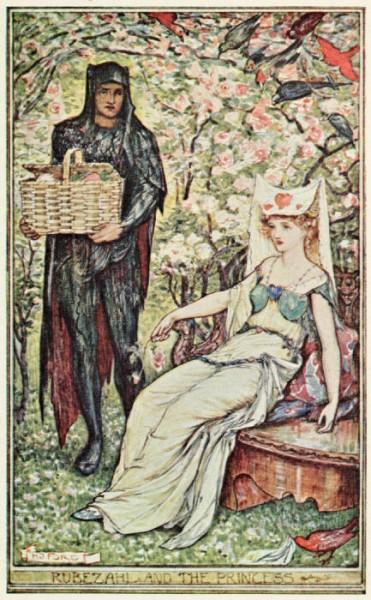 Rübezahl bringt Emma einen Korb Rüben. Illustration von Henry Justice Ford