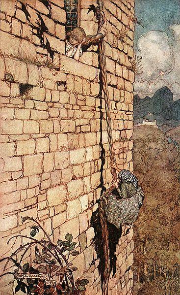 Illustration von Arthur Rackham zu dem Märchen Rapunzel von den Brüdern Grimm