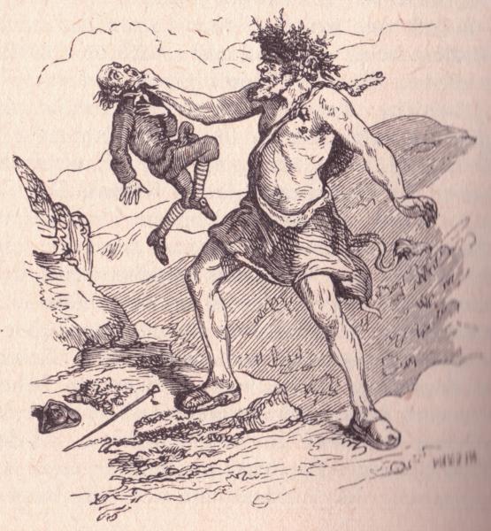Rübezahl schnappt sich einen Arzt beim Kragen, der es wagte über ihn zu spotten. Dritte Legende von Rübezahl, Illustration Ludwig Richter