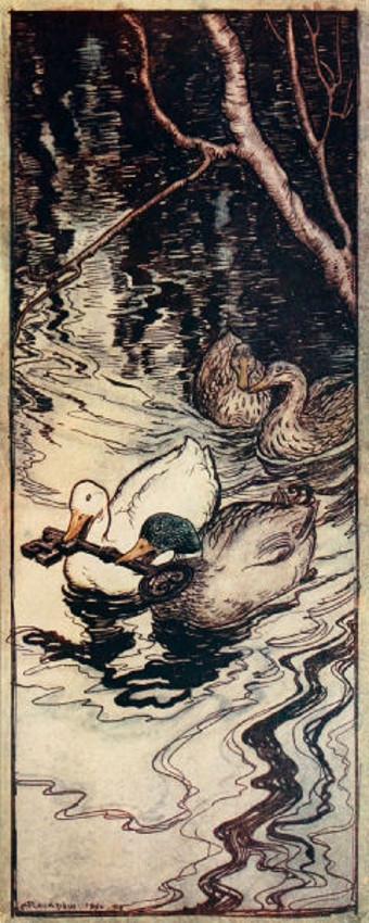 Illustration von Arthur Rackham zu dem Märchen Die Bienenkönigin