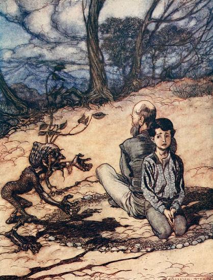 Illustration von Arthur Rackham zu dem Märchen Der König vom goldenen Berg