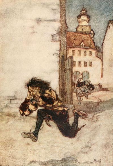 Illustration von Arthur Rackham zu dem Märchen Das kluge Gretel