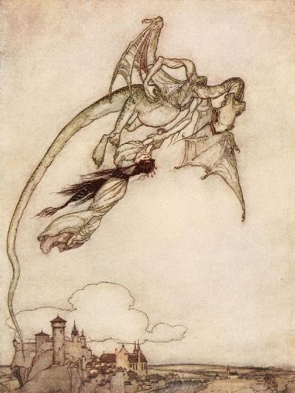 Illustration von Arthur Rackham zu dem Märchen Die vier kunstreichen Brüder von den Brüdern Grimm