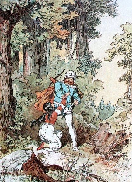 Schneewittchen fleht den Jäger an, sie leben zu lassen. Illustration von Alexander Zick