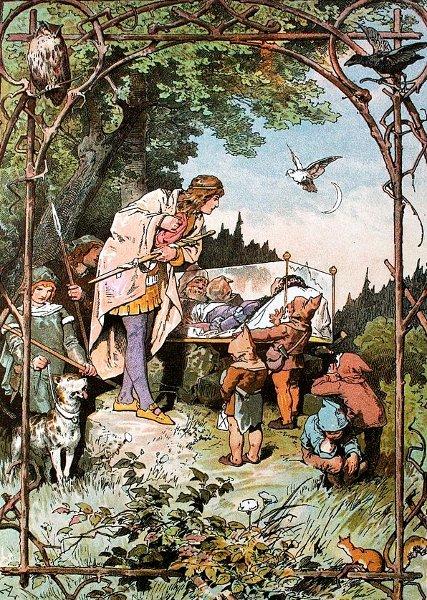 Die sieben Zwerge tragen den gläsernen Sarg mit Schneewittchen. Illustration von Alexander Zick