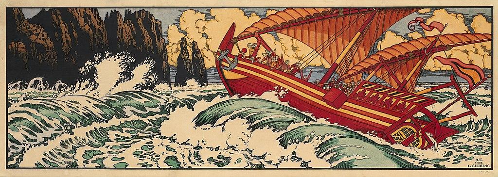 Illustration von Iwan Bilibin zu Sindbad der Seefahrer
