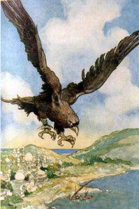 Sindbad der Seefahrer, Vogel Roc. lllustration von René Bull