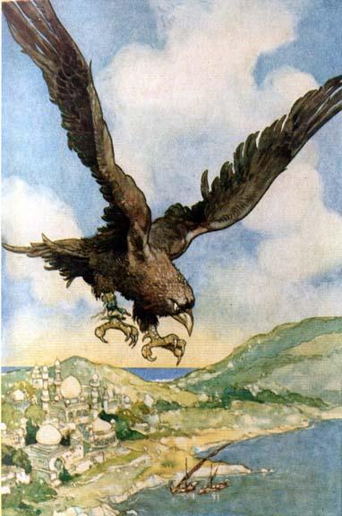 Der Vogel Roc. Illustration von René Bull zu Sindbad der Seefahrer