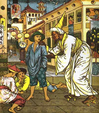 Illustration von Walter Crane zu dem Märchen Aladdin und die Wunderlampe: Der Junge Aladdin begegnet dem Magier