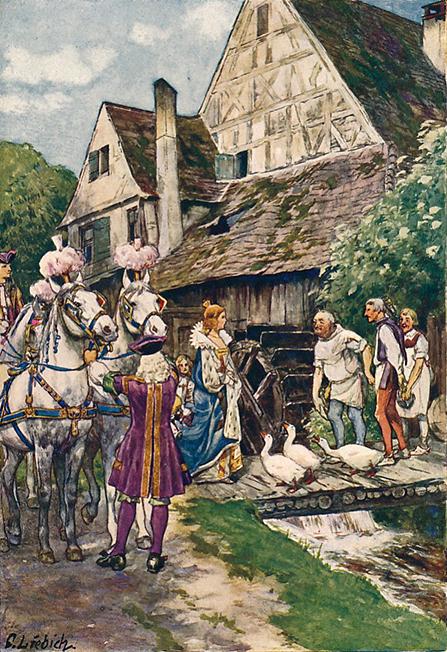 Illustration von Curt Liebich zu dem Märchen Der arme Müllersbursch und das Kätzchen