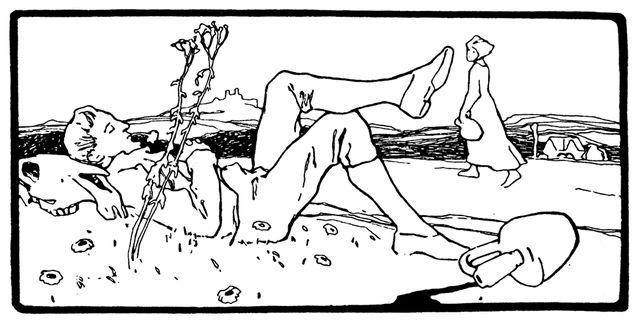 Illustration von Otto Ubbelohde zu dem Märchen Sechse kommen durch die ganze Welt