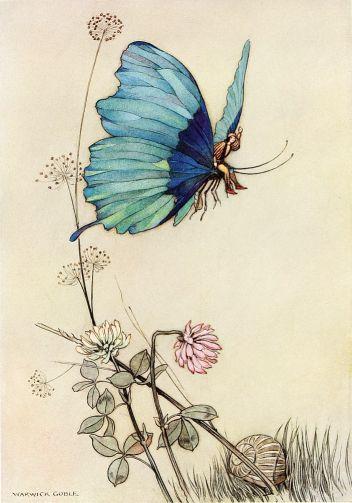 Illustration von Warwick Goble zu dem Märchen Tom Thumb