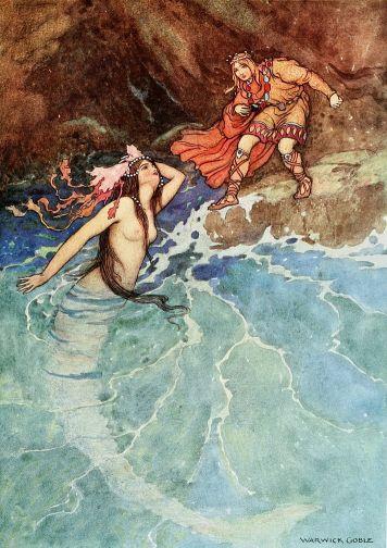 Illustration von Warwick Goble zu dem Märchen Der gelbe Zwerg von Madame d'Aulnoy