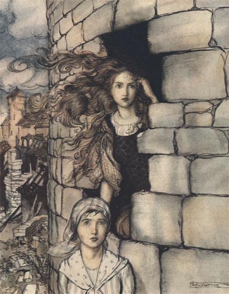 Illustration von Arthur Rackham zu dem Märchen Jungfrau Maleen von den Brüdern Grimm