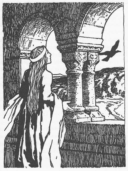 Illustration von Otto Ubbelohde zu dem Märchen Die Rabe von den Brüdern Grimm