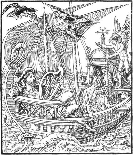 Illustration von Walter Crane zu dem Märchen Der treue Johannes
