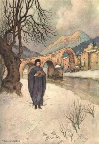Illustration von Warwick Goble zu dem Märchen Die Monate aus dem Pentameron von Giambattista Basile
