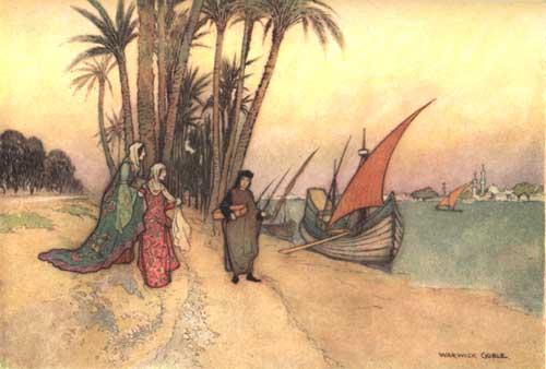 Illustration von Warwick Goble zu dem Märchen Der Rabe aus Giambattista Basiles Pentameron