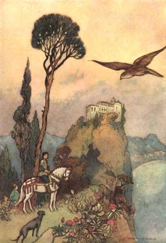 Illustration von Warwick Goble zum Märchen Sonne, Mond und Thalia aus dem Pentamerone von Giambattista Basile