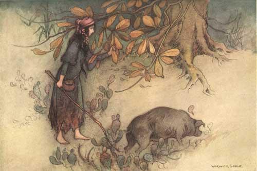 Illustration zu dem Märchen Die goldene Wurzel: Ein Mädchen führt ihr Schwein zur Mast in den Wald