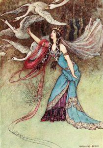Die sechs Schwäne, Märchen der Brüder Grimm. Illustration Warwick Goble