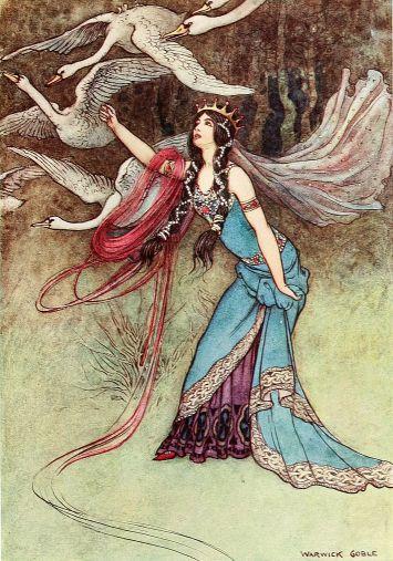 Illustration Warwick Goble zu dem Märchen Die sechs Schwäne von den Brüdern Grimm