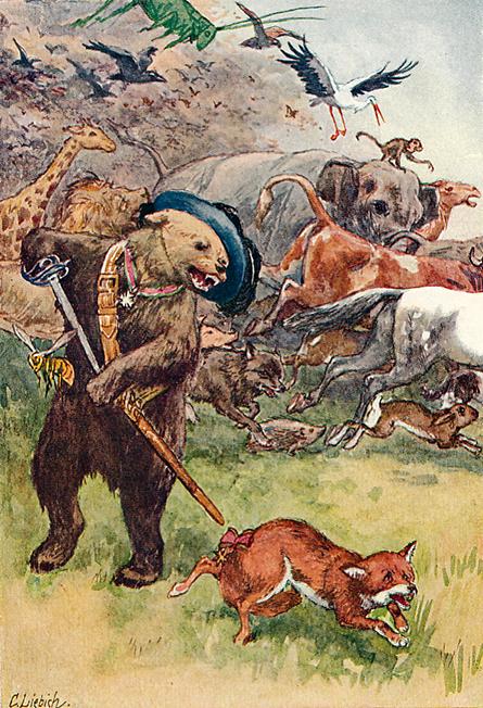 Illustration von Curt Liebich zu dem Märchen Der Zaunkönig und der Bär von den Brüdern Grimm