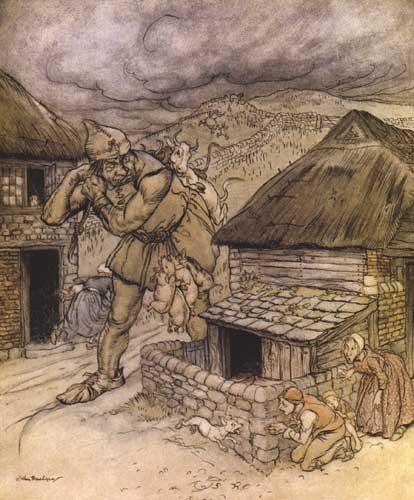 Illustration von Arthur Rackham zum Märchen Jack der Riesentöter