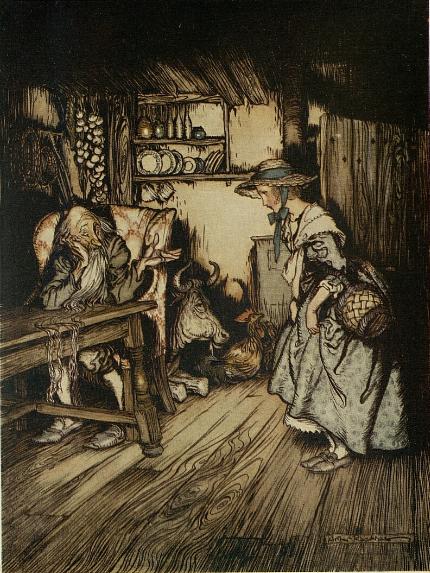 Illustration von Arthur Rackham zu dem Märchen das Waldhaus von den Brüdern Grimm