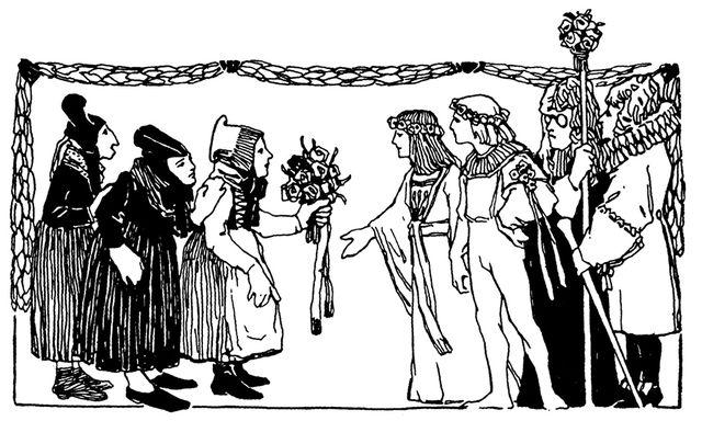Illustration von Otto Ubbelohde zu dem Märchen Die drei Spinnerinnen von Otto Ubbelohde