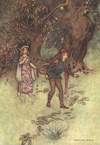 Illustration von Warwick Goblezu dem Märchen Nennillo und Nennella aus dem Pentamerone von Giambattista Basile