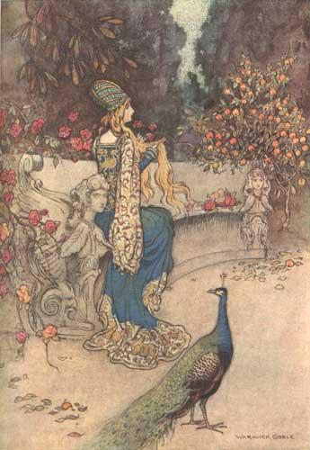 Illustration von Warwick Goble zu dem Märchen Die Bärin aus dem Pentameron von Giambattista Basile.